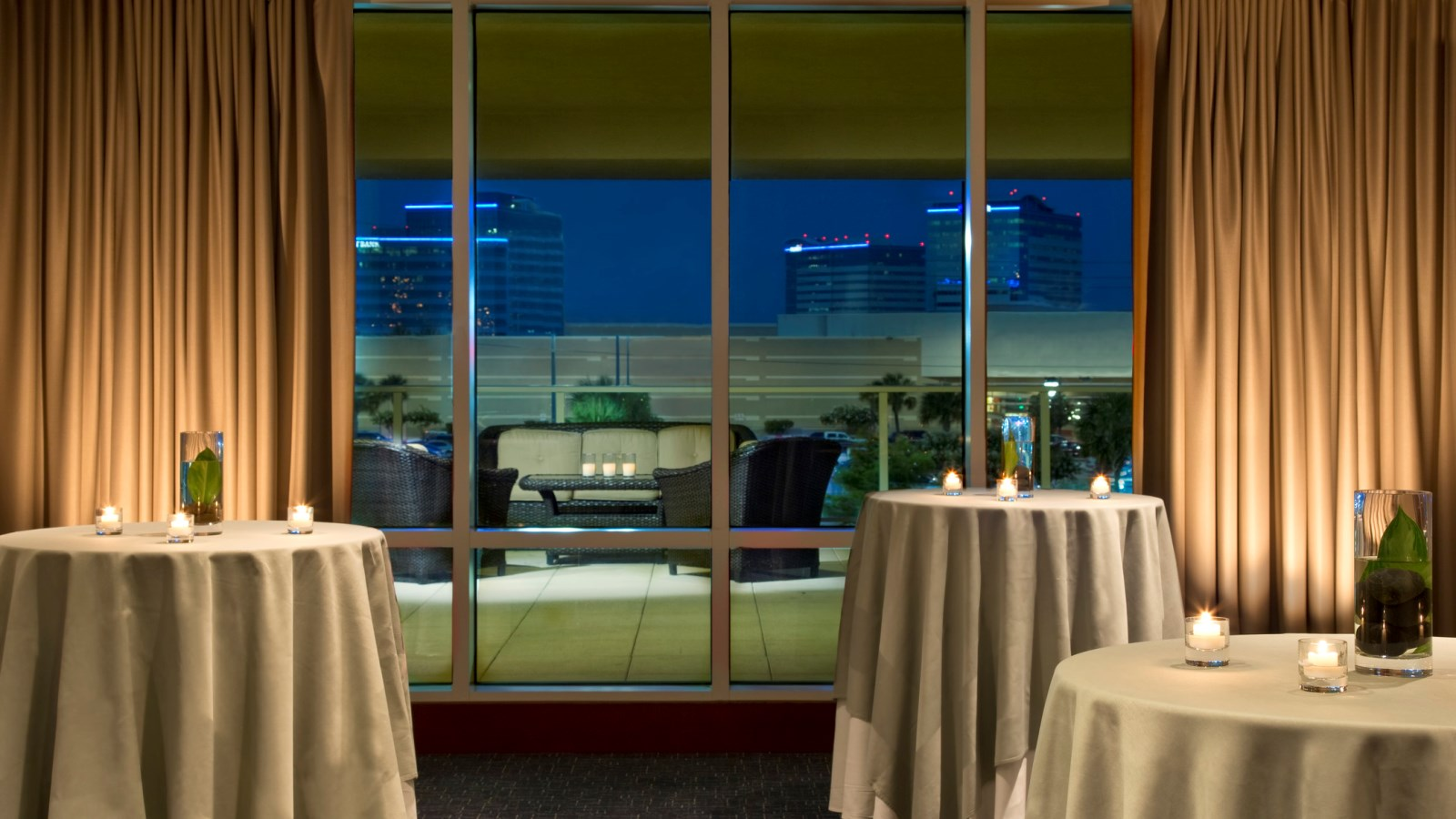 A shot of the indoor and outdoor event spaces at the Westin Houston, Memorial City  - great for parties and corporate events.