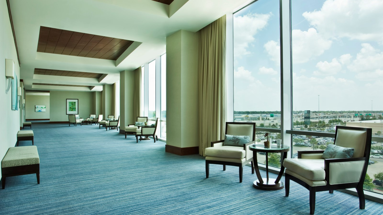 The Azalea Ballroom's airy pre-function area provides fantastic views of Memorial City.